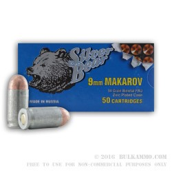 50 Rounds of 9x18mm Makarov Ammo by Silver Bear - 94gr FMJ