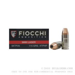 500 Rounds of 9mm Ammo by Fiocchi - 115gr XTP JHP