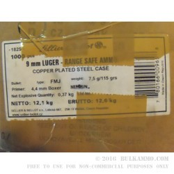 1000 Rounds of 9mm Ammo by Sellier & Bellot - 115gr FMJ
