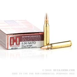 20 Rounds of 5.56x45 Ammo by Hornady Superformance Match - 75gr HPBT