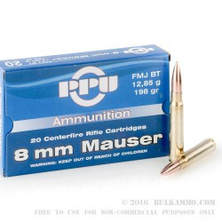20 Rounds of 8x57 mm JS Mauser Ammo by Prvi Partizan - 198gr FMJBT