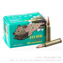20 Rounds of .223 Ammo by Brown Bear - 62gr SP