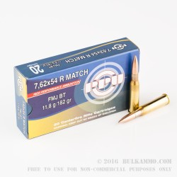 20 Rounds of 7.62x54r Ammo by Prvi Partizan Match - 182gr FMJBT