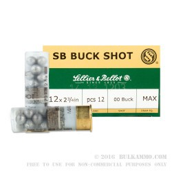 250 Rounds of 12ga Ammo by Sellier & Bellot - 1 1/4 ounce 00 Buck