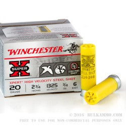 250 Rounds of 20ga Ammo by Winchester - 3/4 ounce #6 Shot (Steel)