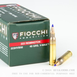 1000 Rounds of .223 Ammo by Fiocchi - 40gr V-MAX