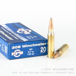 20 Rounds of .308 Win Ammo by Prvi Partizan - 150gr SP