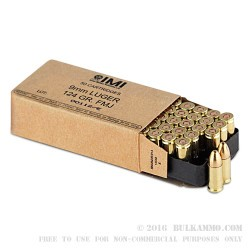 1000 Rounds of 9mm Ammo by Israeli Military Industries - 124gr FMJ