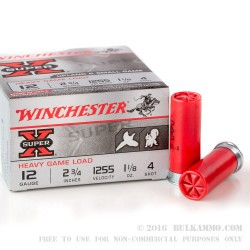 250 Rounds of 12ga Ammo by Winchester - 1 1/8 ounce #4 shot