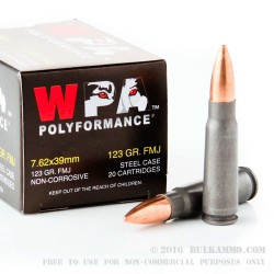 20 Rounds of 7.62x39mm Ammo by Wolf WPA Polyformance - 123gr FMJ