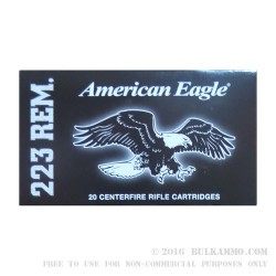 500 Rounds of .223 Ammo by Federal American Eagle - 55gr FMJ