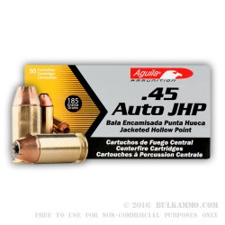 1000 Rounds of .45 ACP Ammo by Aguila - 185gr JHP