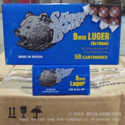 50 Rounds of 9mm Ammo by Silver Bear - 145gr HP