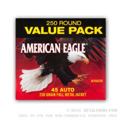 250 Rounds of .45 ACP Ammo by Federal - 230gr FMJ