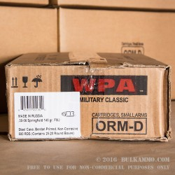 100rds - 30-06 WPA Military Classic 145gr. FMJ Ammo