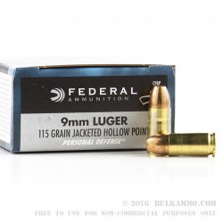 500 Rounds of 9mm Ammo by Federal Personal Defense - 115gr JHP