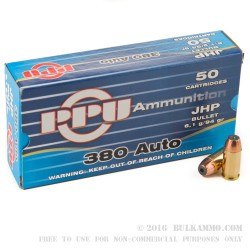 50 Rounds of .380 ACP Ammo by Prvi Partizan - 94gr JHP
