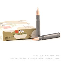 20 Rounds of 30-06 Springfield Ammo by Wolf - 145gr FMJ