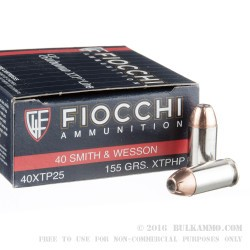25 Rounds of .40 S&W Ammo by Fiocchi - 155gr XTP JHP