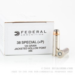 50 Rounds of .38 Spl +P Ammo by Federal Classic - 125gr JHP Hi-Shok