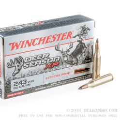 20 Rounds of .243 Win Ammo by Winchester  Deer Season XP - 95gr Polymer Tipped