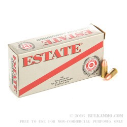 1000 Rounds of 9mm Ammo by Estate Cartridge - 115gr FMJ
