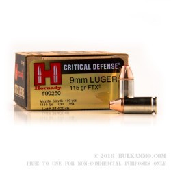 250 Rounds of 9mm Ammo by Hornady - 115gr JHP