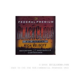250 Rounds of 12ga Ammo by Federal Black Cloud FS Steel High Velocity - 1 1/8 ounce #4 shot