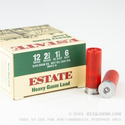 """25 Rounds of 12ga Ammo by Estate Heavy game Load - 2-3/4"""" 1 1/4 ounce #6 shot"""