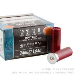 250 Rounds of 12ga Ammo by Federal - 1 1/8 ounce #8 shot
