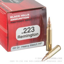 50 Rounds of .223 Ammo by Black Hills Ammunition - 68gr Heavy Match Hollow Point