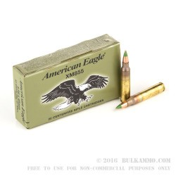 20 Rounds of 5.56x45mm M855 Steel Core Ammo by Federal - 62gr FMJ-BT