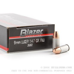 50 Rounds of 9mm Ammo by Blazer - 147gr FMJ