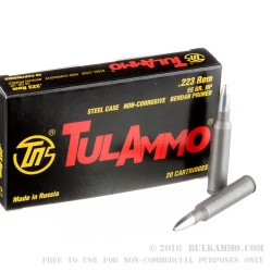 20 Rounds of .223 Ammo by Tula - 55gr HP