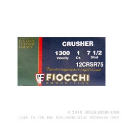 """250 Rounds of 12ga Ammo by Fiocchi Crusher - 2-3/4"""" 1 ounce #7 1/2 shot"""