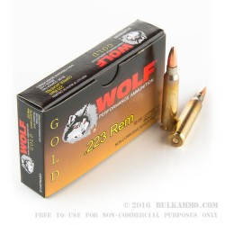 20 Rounds of .223 Ammo by Wolf - 55gr FMJ