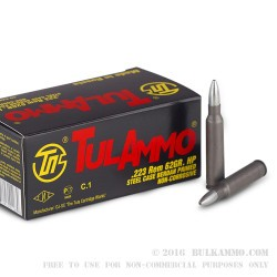 40 Rounds of .223 Ammo by Tula - 62gr HP