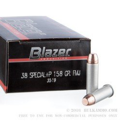 1000 Rounds of .38 Spl +P Ammo by Blazer - 158gr FMJ