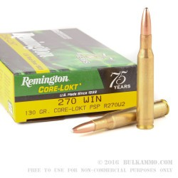 200 Rounds of .270 Win Ammo by Remington - 130gr PSP