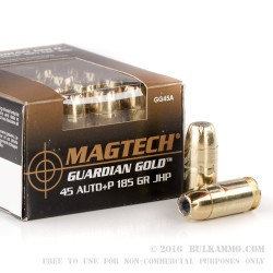 1000 Rounds of .45 ACP +P Ammo by Magtech - 185gr JHP