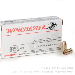 50 Rounds of .380 ACP Ammo by Winchester - 95gr JHP