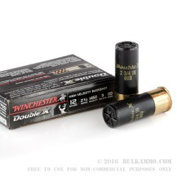 5 Rounds of 12ga Ammo by Winchester Double X -  00 Buck