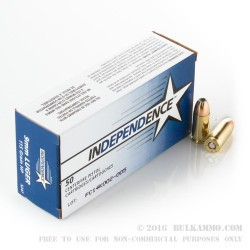 1000 Rounds of 9mm Ammo by Independence - 115gr JHP