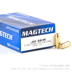 50 Rounds of .40 S&W Ammo by Magtech - 180gr FMJ