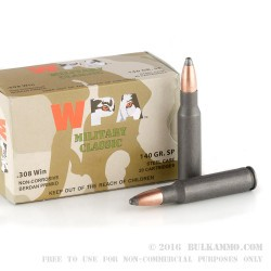 500 Rounds of .308 Win Ammo by Wolf - 140gr Soft Point