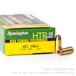 500 Rounds of .40 S&W Ammo by Remington - 155gr JHP