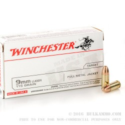 500  Rounds of 9mm Ammo by Winchester - 115gr FMJ
