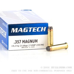 50 Rounds of .357 Mag Ammo by Magtech - 158gr SJHP