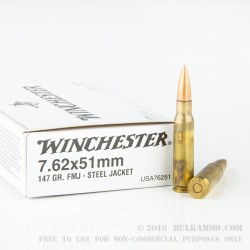 20 Rounds of 7.62x51mm Ammo by Winchester - 147gr FMJ