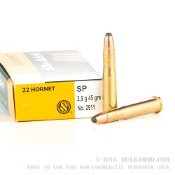 20 Rounds of .22 Hornet Ammo by Sellier & Bellot - 45 gr SP